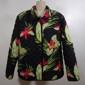 220 Hickory Hawaiian Floral Foliage Quilted Jacket
